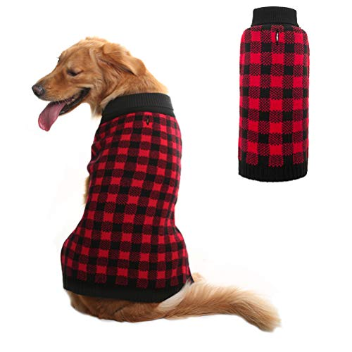 Dog Sweater Plaid Pet Cat Winter Knitwear Warm Clothes Red Small