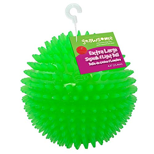 """Gnawsome 4.5"""" Spiky Squeak & Light Ball Dog Toy - Extra Large, Cleans teeth and Promotes Dental..."""