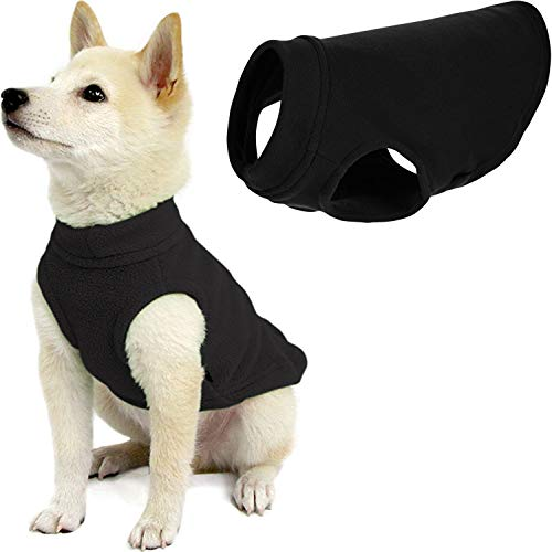 Gooby Stretch Fleece Dog Vest - Black, X-Small - Pullover Fleece Dog Sweater - Warm Dog Jacket...