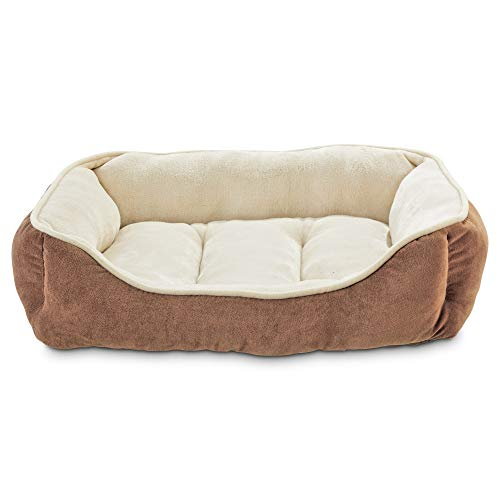 Animaze Brown Bolster Dog Bed, 24' L X 18' W X 7' H, Small, Brown / Off-White