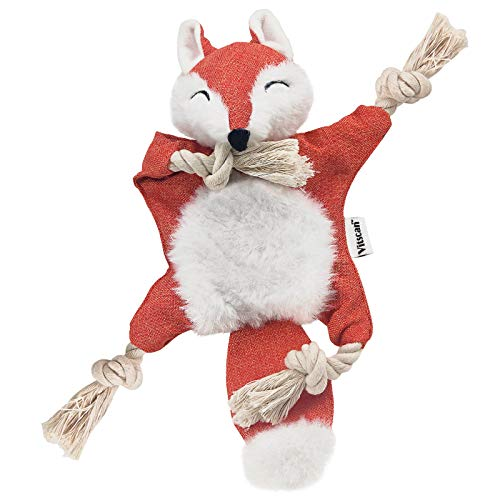 Fox Dog Toy with Squeaker, Stuffless Dog...