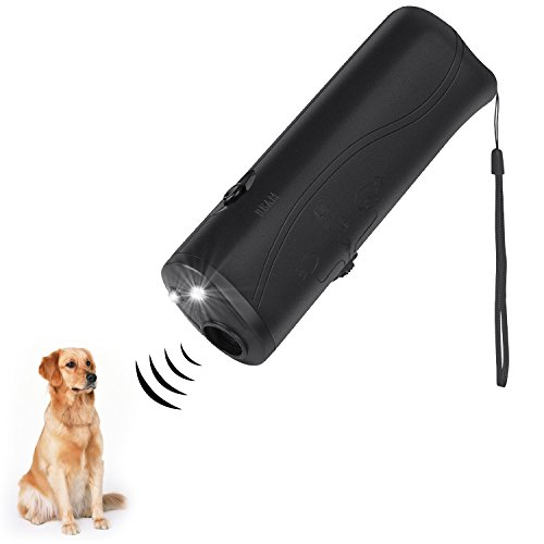 Meiren Handheld Dog Repellent & Trainer, Anti Barking Device with LED Flashlight, Ultrasonic Dog...