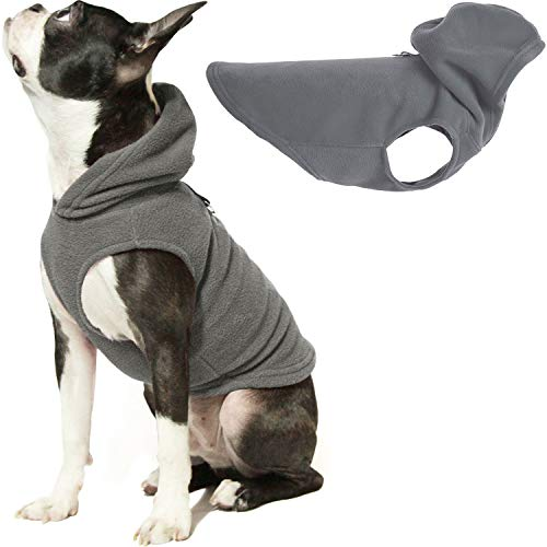 Gooby Dog Hoodie Fleece Vest - Gray, Large - Pull Over Dog Jacket with...
