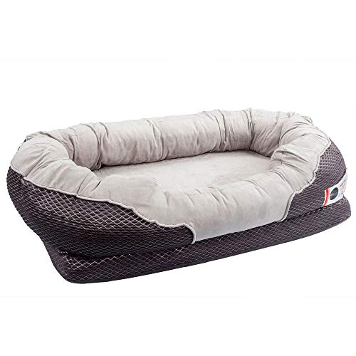 BarksBar Large Gray Orthopedic Dog Bed -...