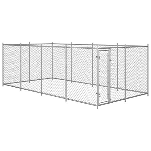 Festnight Outdoor Dog Kennel Galvanized Steel Chain-Link Mesh...