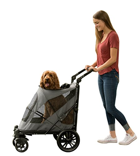Pet Gear NO-ZIP Stroller, Push Button Zipperless Dual Entry, for Single or Multiple Dogs/Cats, Pet...