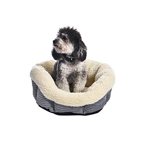 Amazon Basics Round Self Warming Pet Bed For Cat or Dog, 18 x 8 Inches