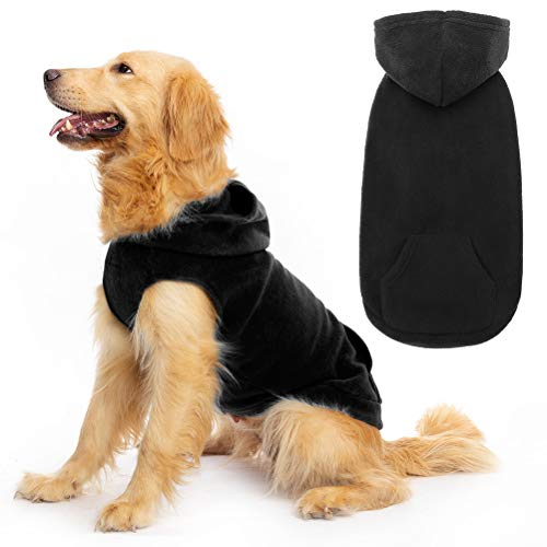 EXPAWLORER Fleece Dog Hoodies with Pocket, Cold Weather Spring Vest Sweatshirt with O-Ring, Black XS