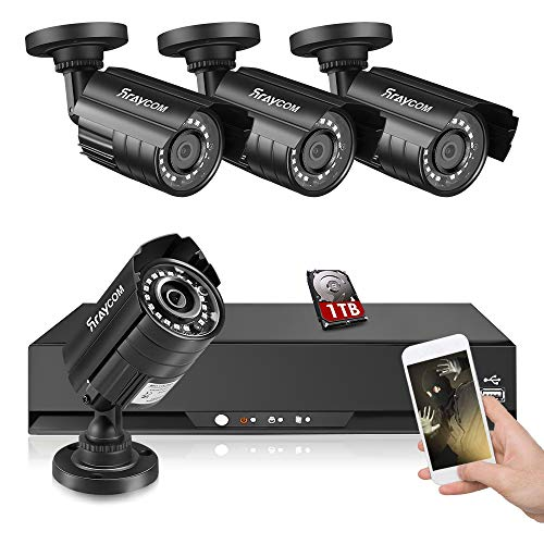 Rraycom 8CH Security Surveillance System HD-TVI 2MP Lite 5 in1 DVR with (4) 1080P IP67 Weatherproof...