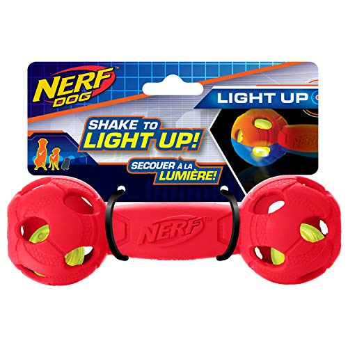 Nerf Dog Rubber Bash Barbell Dog Toy with Interactive LED,...