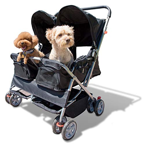 Paws & Pals Double Pet Stroller - 4 Wheels Lightweight Two Puppy, Dog...