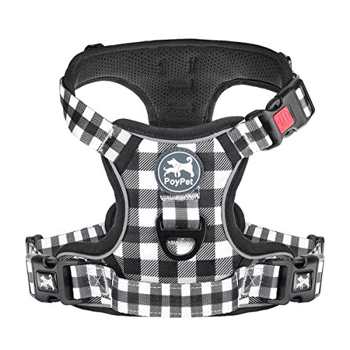 PoyPet No Pull Dog Harness, [Release at Neck] Reflective Adjustable No...