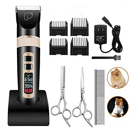 kiizon Dog Grooming Clippers 3-Speed Professional Rechargeable...