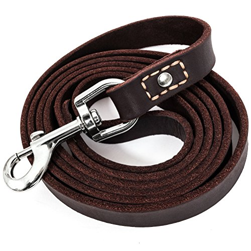 LEATHERBERG Leather Dog Training Leash - Brown 6 Foot x 3/4' Dog...