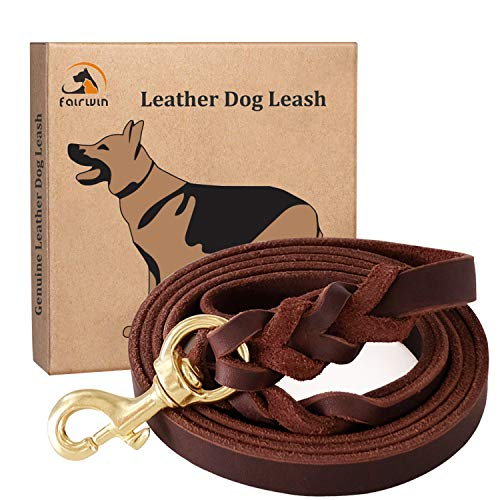 Fairwin Braided Leather Dog Training Leash 6 Foot - 5.6 Foot Military...