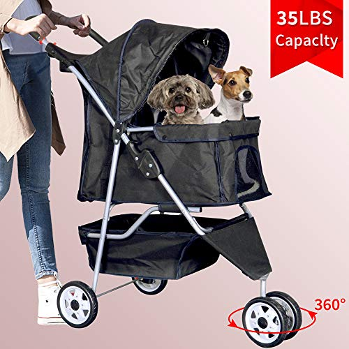 3 Wheels Pet Stroller Large/Small Dog...