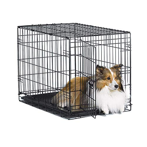 New World 30' Folding Metal Dog Crate, Includes Leak-Proof Plastic...