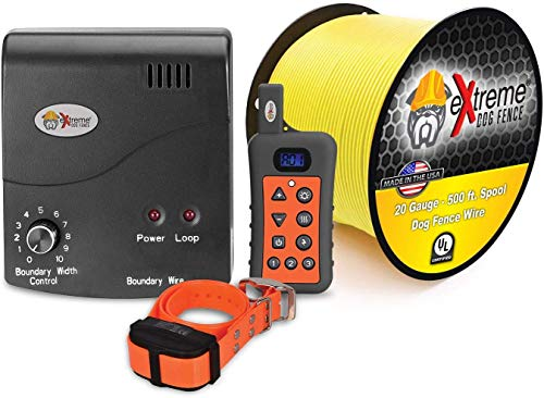 Electric Dog Fence + Remote Trainer - 1 Dog / 500' of 20 Gauge Underground Dog Fence Wire (Up to 1/3...