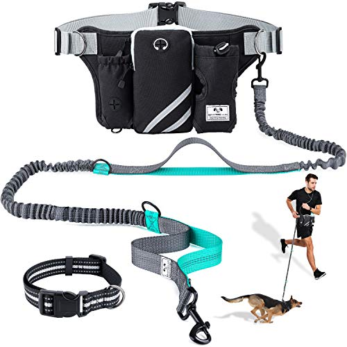 SHINE HAI Retractable Hands Free Dog Leash with Dual Bungees for Dogs up to 150lbs, Adjustable Waist...