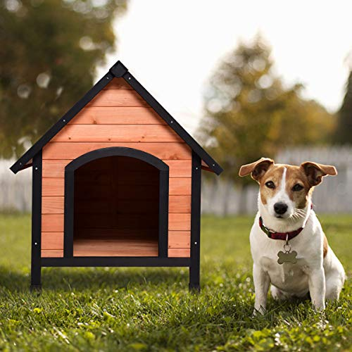 Tangkula Dog House, Wooden Pet Kennel, Outdoor Weather Waterproof Pet...