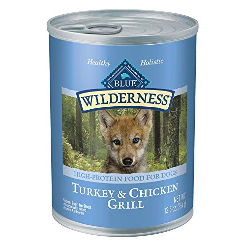 Blue Buffalo Wilderness High Protein Grain Free Natural Puppy Wet Dog Food, Turkey & Chicken Grill...