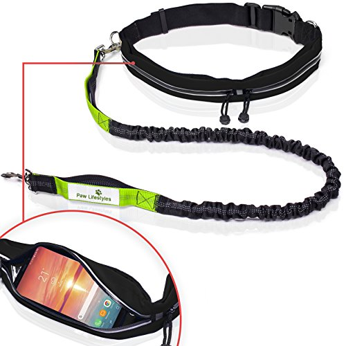 Paw Lifestyles Retractable Hands Free Dog Leash W/Smartphone Pouch – Dual Handle Bungee Waist...
