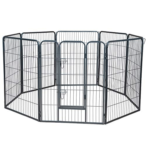 Wire Pen Dog Fence Playpen - Pet Dogs & Cats Outdoor Exercise Pens - Tube Gate w/Door - (8 Panel /...