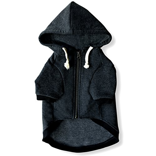 Ellie Dog Wear Zip Up Adventure Charcoal Grey Dog Hoodie with Hook & Loop Pockets and Adjustable...