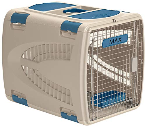 Suncast Deluxe Portable Pet Carrier with Handle, Taupe/Blue, 24' x...