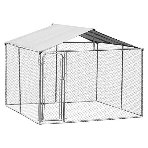 PawHut 10' x 10' x 6' Outdoor Chain Link Box Kennel Dog House with Cover - Silver