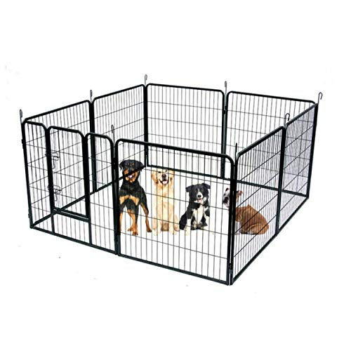 Heavy Duty Exercise Play Pen 41-Inch with Door Sturdy Dog Black Metal...