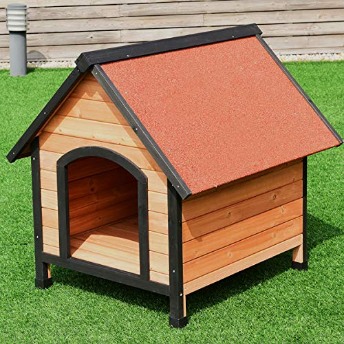Tangkula Dog House, Wooden Pet Kennel,...