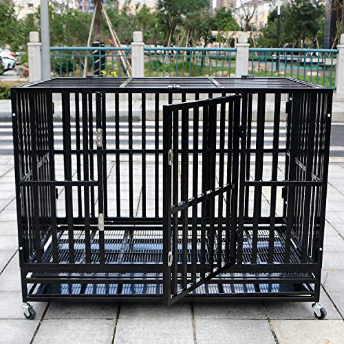 GraceShop Square Steel Black Heavy Duty Metal Crate Dog Cage Square...