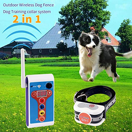Wireless Dog Fence Training Collar 2 in 1 System, Safe Dog Fence...